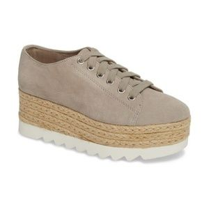 c1804eecfaa Steve Madden Taupe Suede Platform Lace Up Sneakers NWT